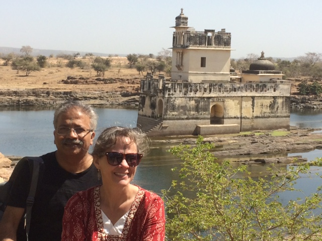 Rani Padmini's monsoon palace within a small lake, within Chittorgarh fort atop a mountain in Rajasthan. Oh, and me and my husband.